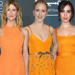 Laura Dern & Alison Brie Match in Orange Dresses at the Critics Choice